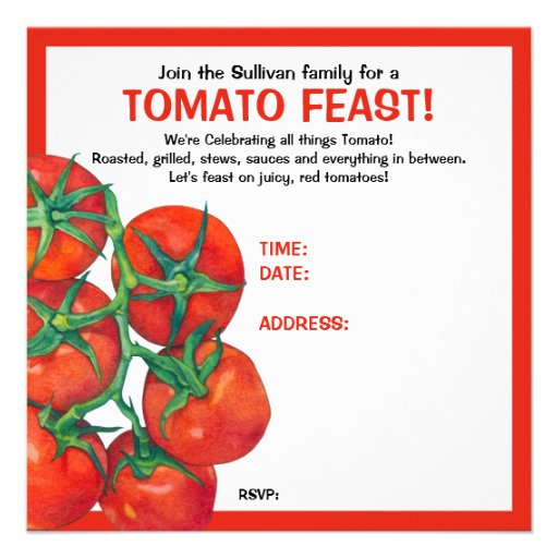 Red Tomatoes Feast Invitation Card