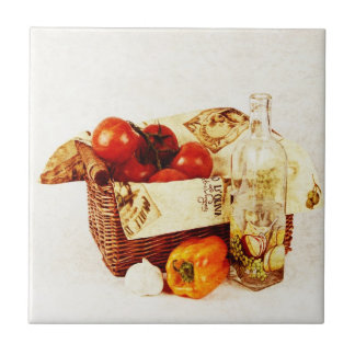 Red tomatoes in a basket with olive oil ceramic tile