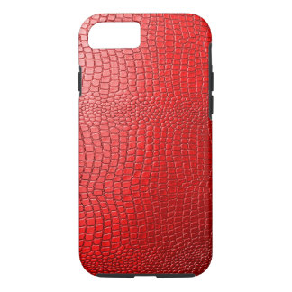 Red Tones Faux Snakeskin Leather Pattern Look iPhone 7 Case