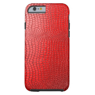 Red Tones Faux Snakeskin Leather Pattern Look Tough iPhone 6 Case