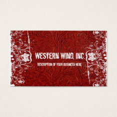 Red Tooled Leather And Lace Business Card at Zazzle