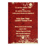 Red Tooled Leather and Lace Wedding Invitation