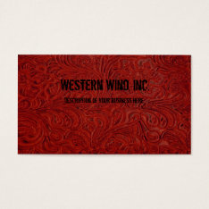 Red Tooled Leather Look Business Card at Zazzle
