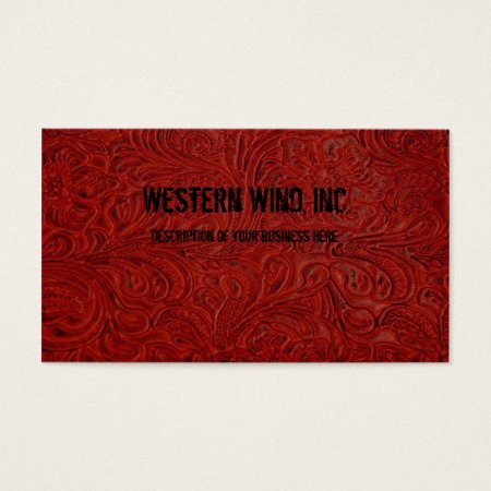 Red Tooled Leather Look Business Card
