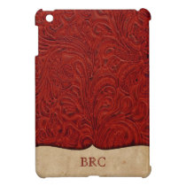 Red Tooled Leather Look Western Personalized Case For The iPad Mini