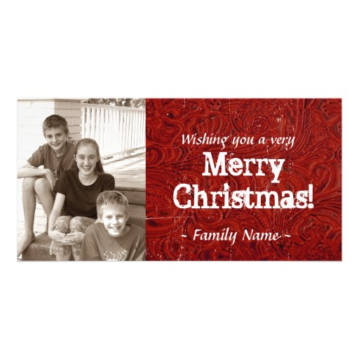 Red Tooled Leather Photo Christmas Card Photo Card