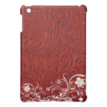 Red Tooled Leather Style Shabby Chic  Case For The iPad Mini
