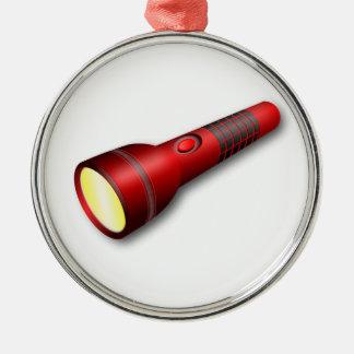 Red Torch Flashlight Metal Ornament