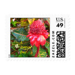 Red Torch Ginger Flower Small Postal Stamps Postage