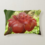 Red Torch Ginger Tropical Flower Photography Accent Pillow