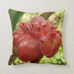 Red Torch Ginger Tropical Flower Throw Pillow