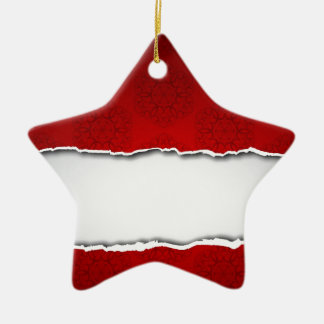 Red torn paper and patterns ceramic ornament