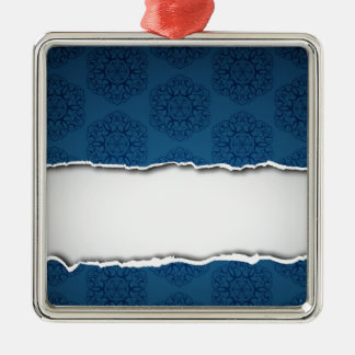 Red torn paper and patterns metal ornament