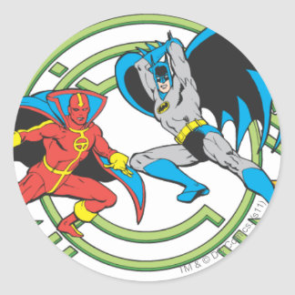 Red Tornado + Batman Classic Round Sticker