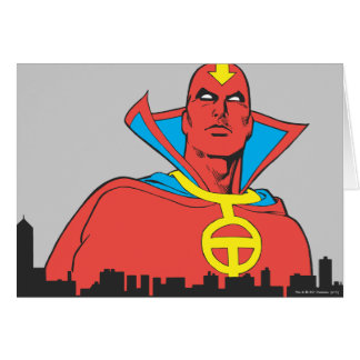 Red Tornado Behind Cityscape Greeting Card