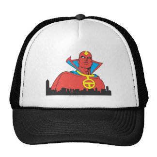 Red Tornado Behind Cityscape Hat