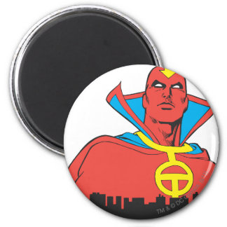 Red Tornado Behind Cityscape Fridge Magnet