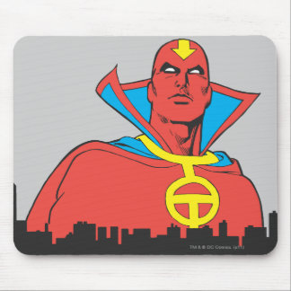 Red Tornado Behind Cityscape Mouse Pads