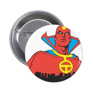 Red Tornado Behind Cityscape Pinback Button