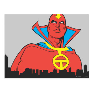 Red Tornado Behind Cityscape Postcard
