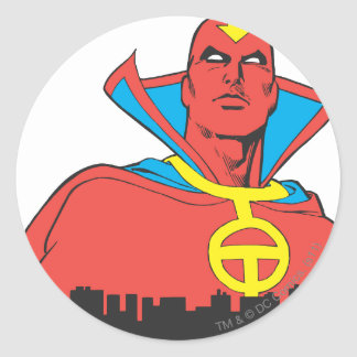 Red Tornado Behind Cityscape Classic Round Sticker