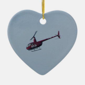 Red tourist helicopter. ceramic ornament