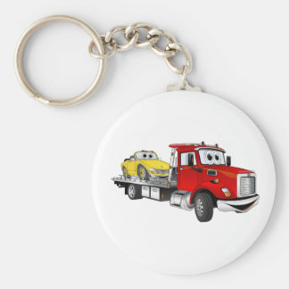 Red Tow Truck Flatbed Cartoon Basic Round Button Keychain