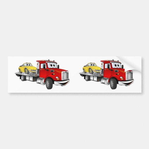 Red Tow Truck Flatbed Cartoon Bumper Stickers