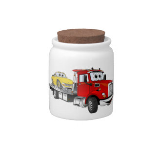 Red Tow Truck Flatbed Cartoon Candy Jars