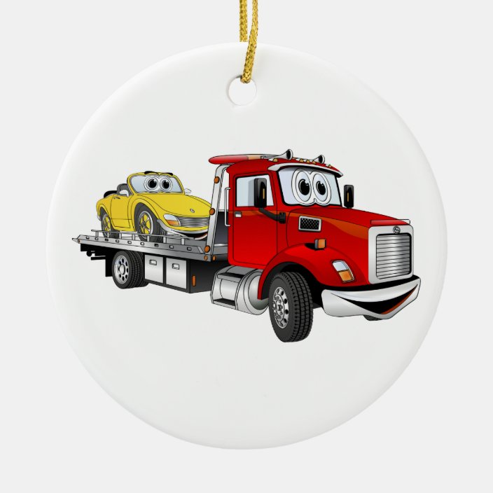 Red Tow Truck Flatbed Cartoon Ceramic Ornament Zazzle Com