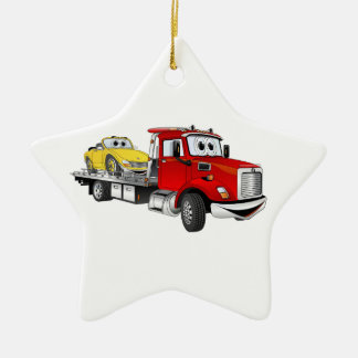Red Tow Truck Flatbed Cartoon Ceramic Ornament