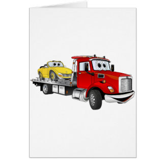 Red Tow Truck Flatbed Cartoon Greeting Card