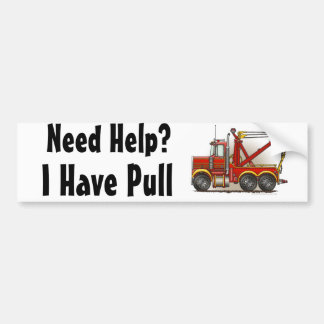 """""""Red Tow Truck Wrecker, Need Help?, I Have... Bump Bumper Stickers"""