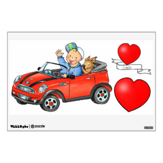 Red Toy Car & Hearts - Kids Wall Decal