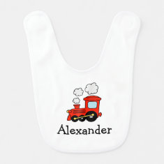 Red toy choo choo train bib for baby boys