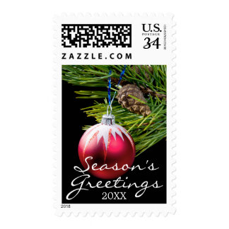 red toy cristmas tree postage stamp