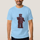 Red Toy Robot on Blue T-shirt