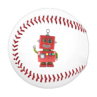 Red toy robot waving hello baseball