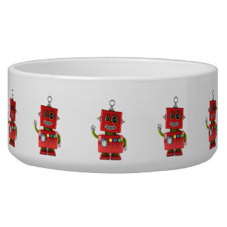 Red toy robot waving hello bowl