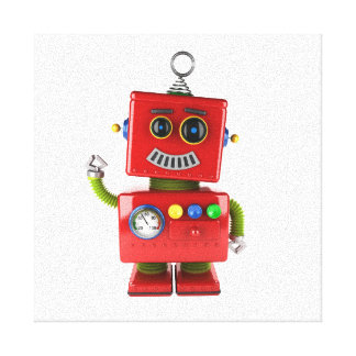Red toy robot waving hello canvas print