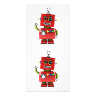 Red toy robot waving hello card