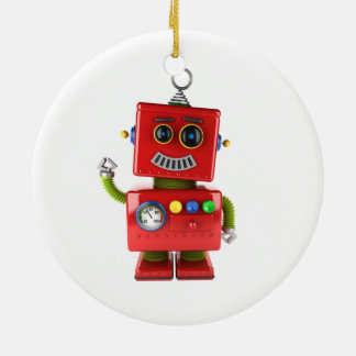 Red toy robot waving hello ceramic ornament
