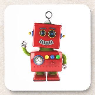 Red toy robot waving hello coaster