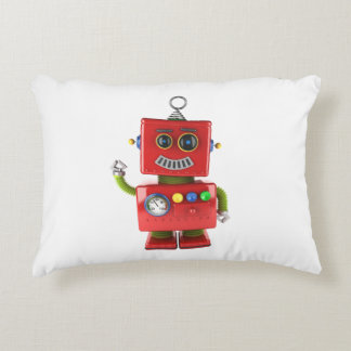 Red toy robot waving hello decorative pillow