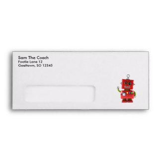 Red toy robot waving hello envelope