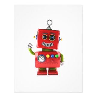 Red toy robot waving hello flyer