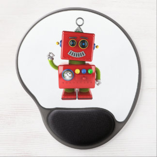 Red toy robot waving hello gel mouse pad