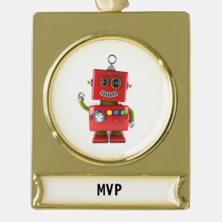 Red toy robot waving hello gold plated banner ornament