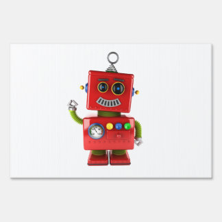 Red toy robot waving hello lawn sign
