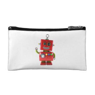 Red toy robot waving hello makeup bag